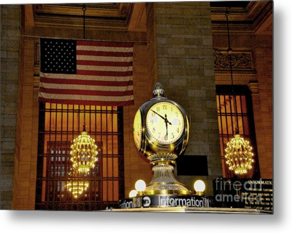 Opal Atomic Clock At Grand Central Metal Print by Jacqueline M Lewis