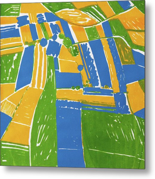 Open Field Yellow Metal Print