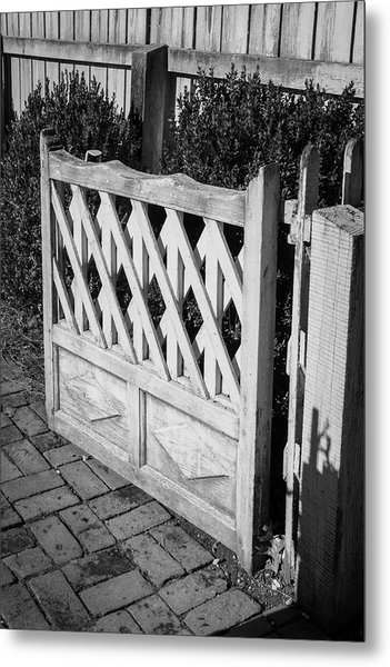 Open Garden Gate B W Metal Print