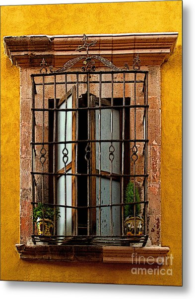 Open Window In Ochre Metal Print by Mexicolors Art Photography