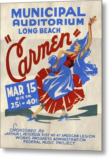 Opera Carmen In Long Beach - Vintage Poster Folded Metal Print