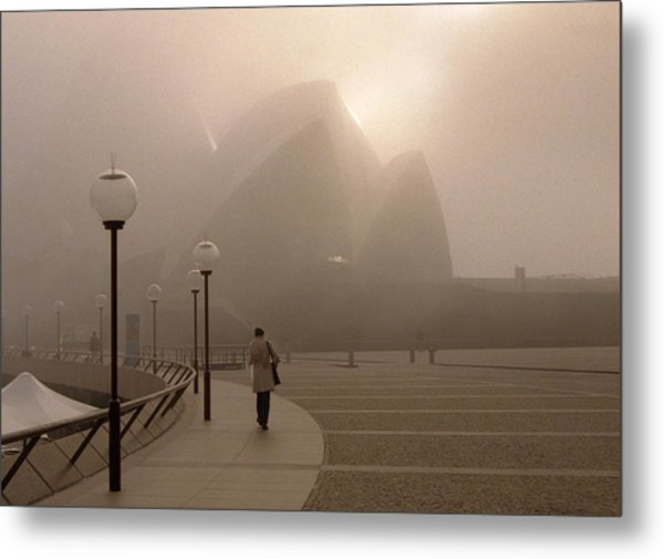 Opera House In The Fog Metal Print by Barry Culling