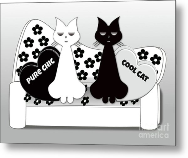 Opposites Attract - Black And White Cats On The Sofa Metal Print