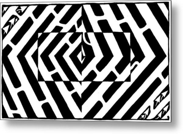 Optical Illusion Maze Of Floating Box Metal Print by Yonatan Frimer Maze Artist