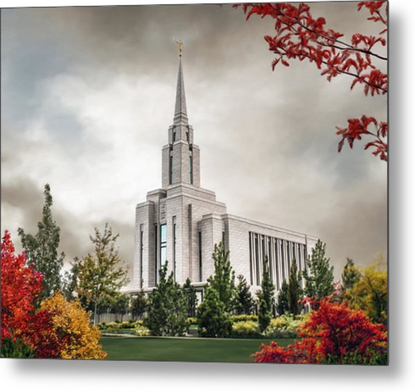 Oquirrh Mountain Temple Metal Print by Brent Borup