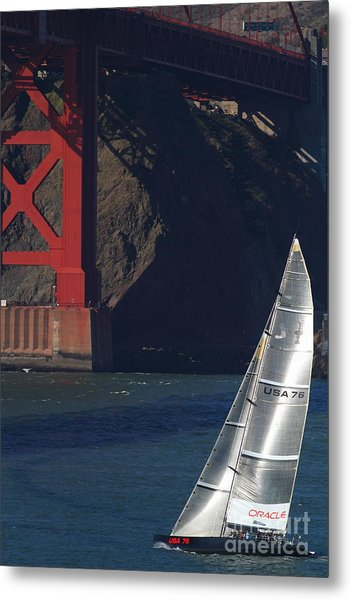 Metal Print featuring the photograph Oracle Racing Team Usa 76 International America's Cup Sailboat . 7d8071 by Wingsdomain Art and Photography