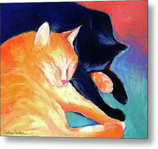 Orange And Black Tabby Cats Sleeping Metal Print