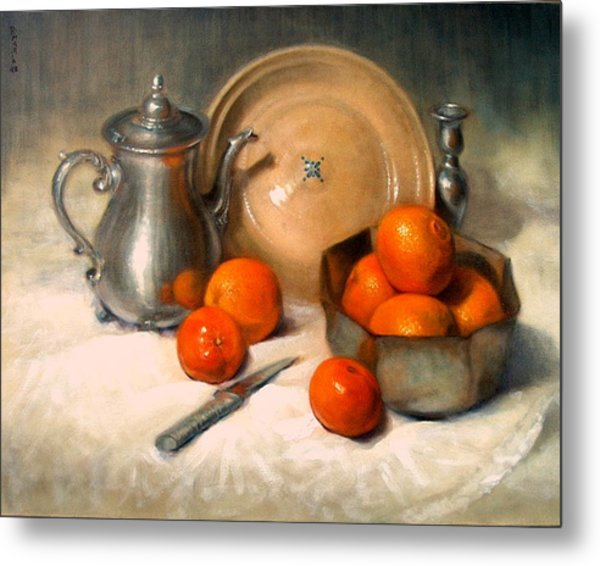 Orange And Gray Metal Print by Donelli  DiMaria