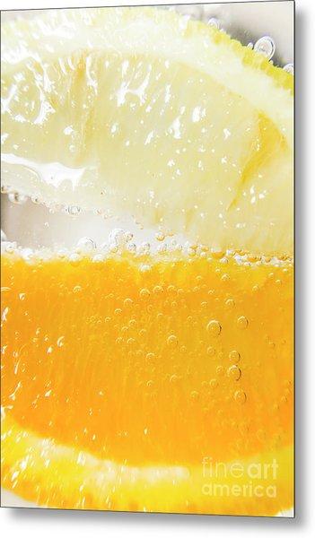 Orange And Lemon In Cocktail Glass Metal Print