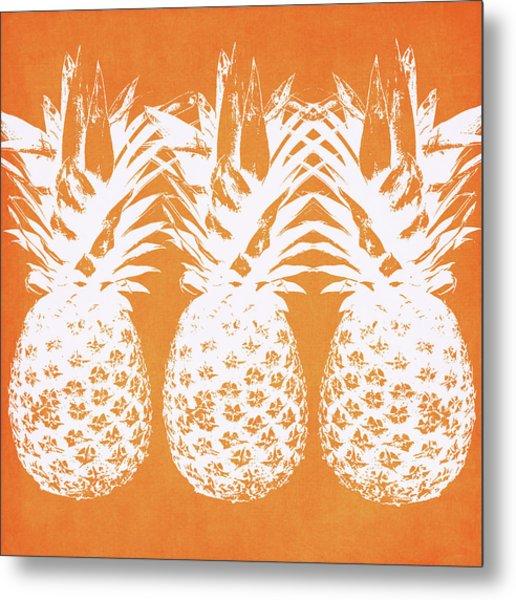 Orange And White Pineapples- Art By Linda Woods Metal Print