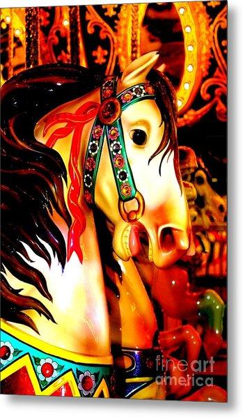 Orange And Yellow Carousel Horse Metal Print