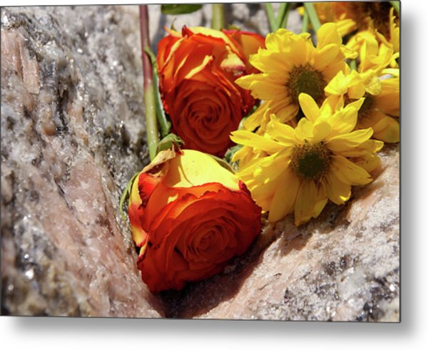 Orange And Yellow On Pink Granite Metal Print