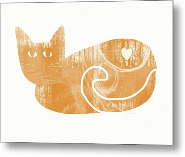 Orange Cat- Art By Linda Woods Metal Print