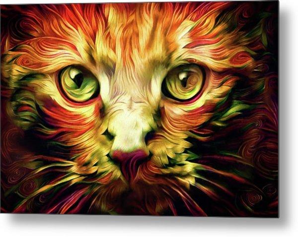 Orange Cat Art - Feed Me Metal Print