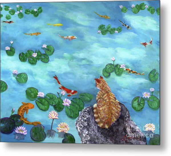 Orange Cat At Koi Pond Metal Print
