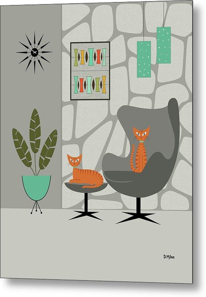 Orange Cat In Gray Stone Wall Metal Print