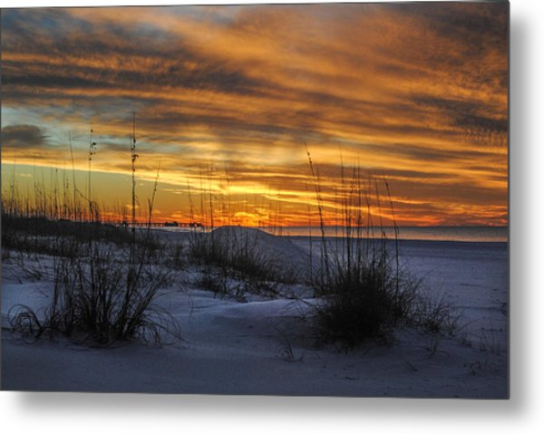 Orange Clouded Sunrise Over The Pier Metal Print