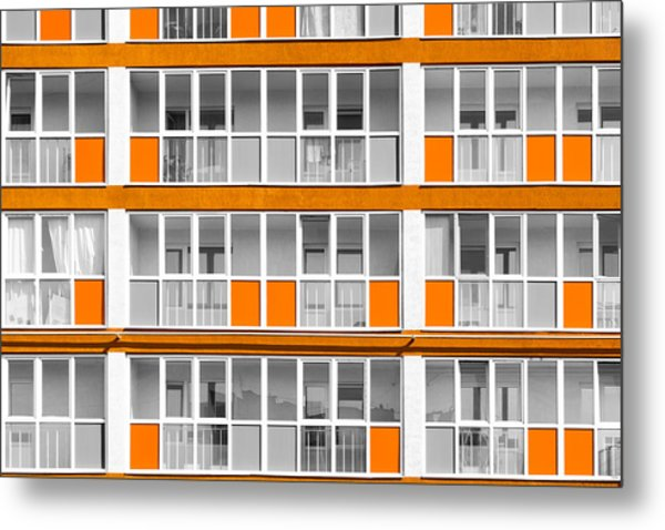 Orange Exterior Decoration Details Of Modern Flats Metal Print