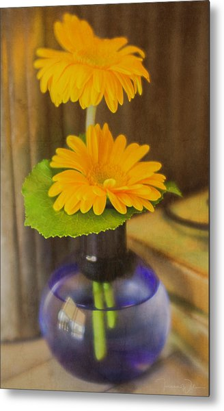 Orange Flowers Blue Vase Metal Print