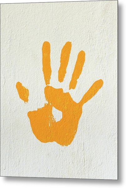 Orange Handprint On A Wall Metal Print