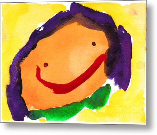 Orange Happy Face Metal Print