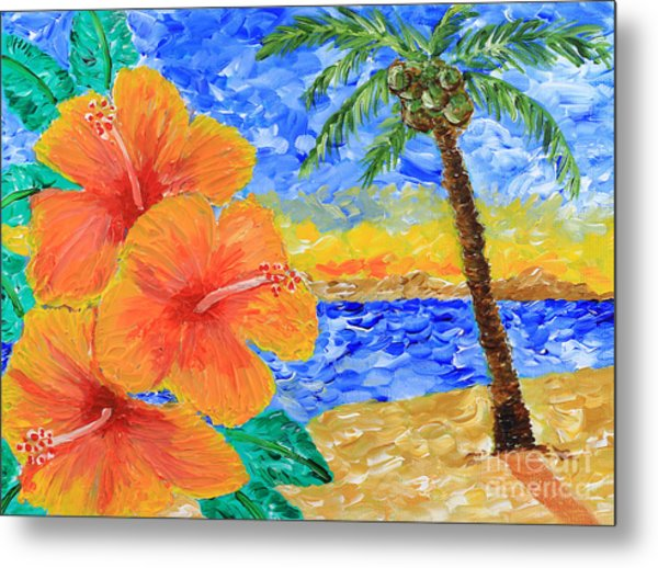 Orange Hibiscus Coconut Tree Sunrise Tropical Beach Painting Metal Print