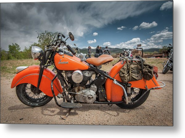 Orange Indian Motorcycle Metal Print