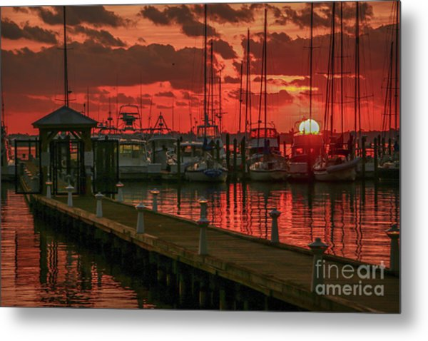 Orange Marina Sunrise Metal Print