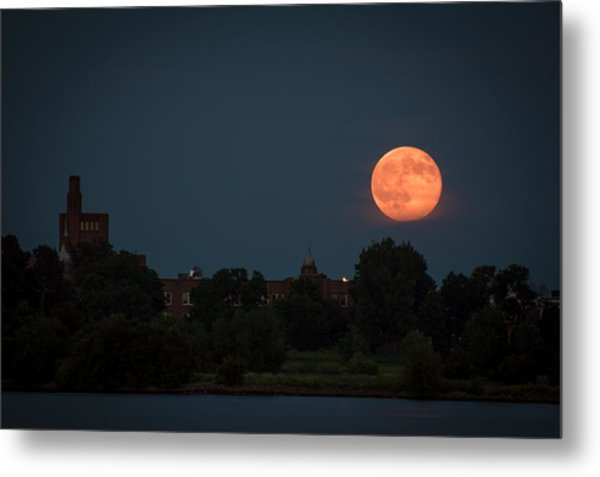 Orange Moon Metal Print