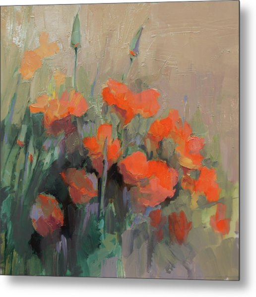Orange Poppies Metal Print by Cathy Locke