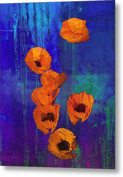 Orange Poppies Metal Print