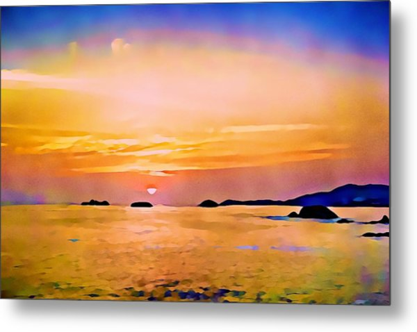 Orange Sky In Ixtapa, Mexico Metal Print