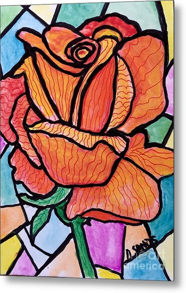Orange Stained Glass Rose Metal Print