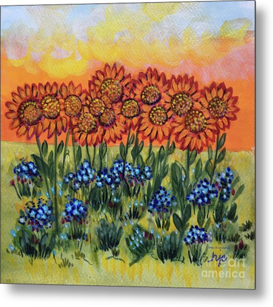 Orange Sunset Flowers Metal Print