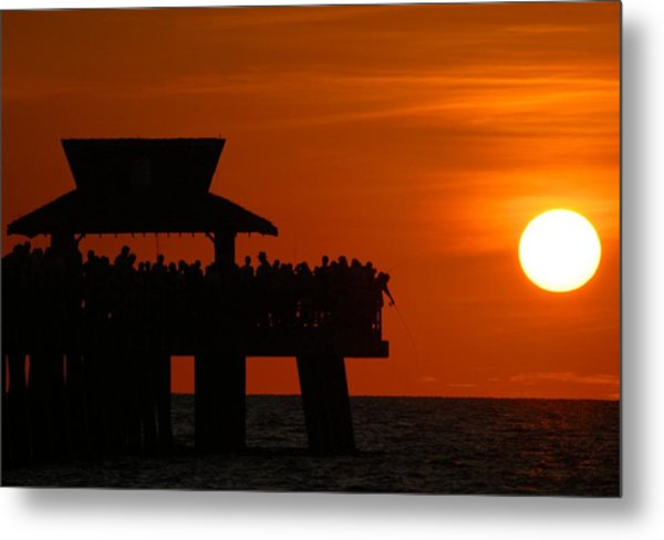 Orange Sunset In Naples Metal Print