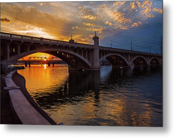 Orange Sunset Over Tempe Town Lake Metal Print