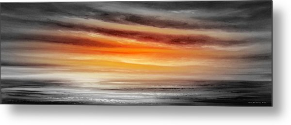 Orange Sunset - Panoramic Metal Print