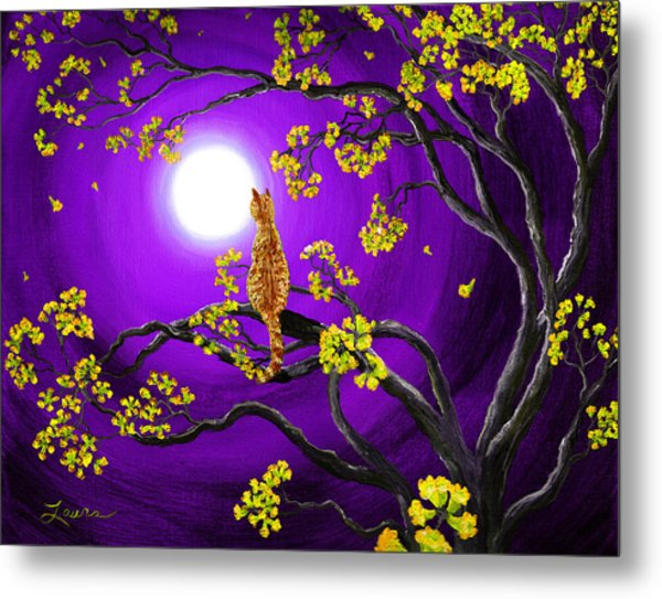 Orange Tabby Cat In Golden Flowers Metal Print