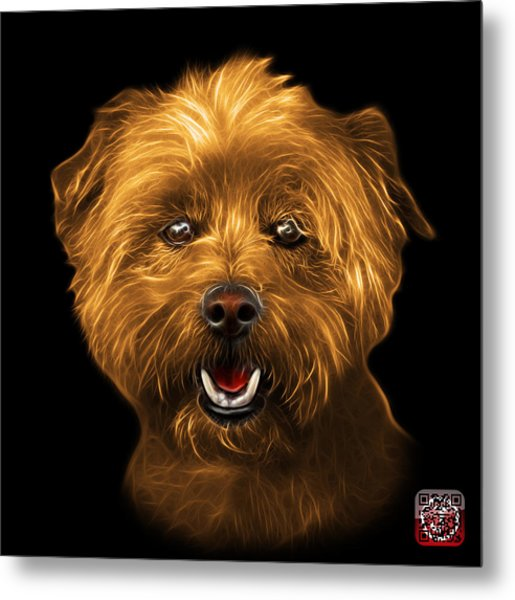 Metal Print featuring the mixed media Orange West Highland Terrier Mix - 8674 - Bb by James Ahn