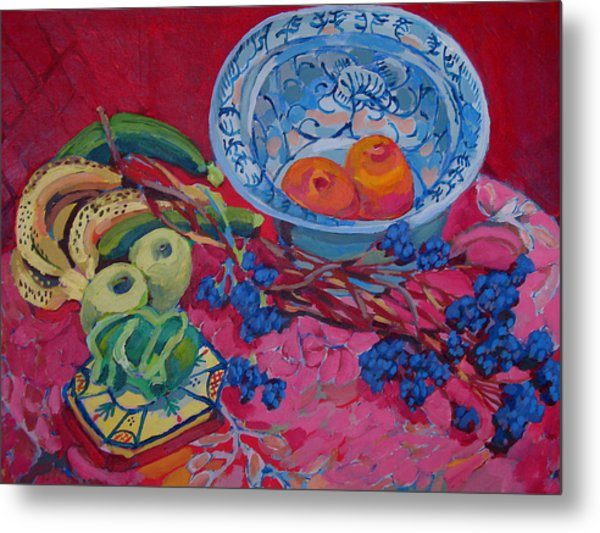 Oranges And Chinese Bowl Metal Print by Doris  Lane Grey
