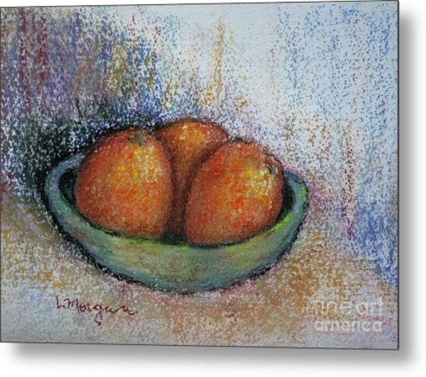 Oranges In Celadon Bowl Metal Print