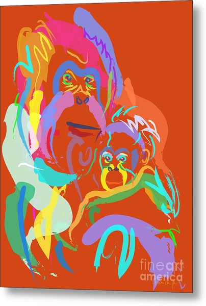 Orangutan Mom And Baby Metal Print