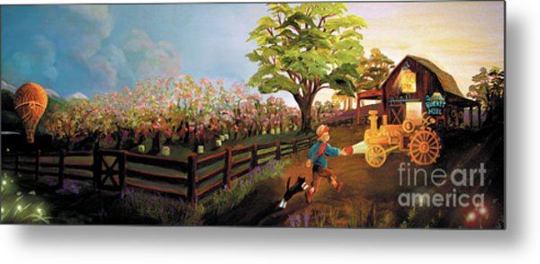 Metal Print featuring the painting Orchard And Barn by Donna Hall