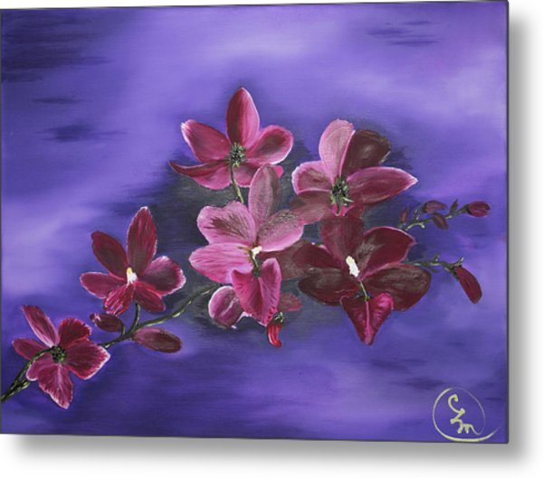 Orchid Blossoms On A Stem Metal Print