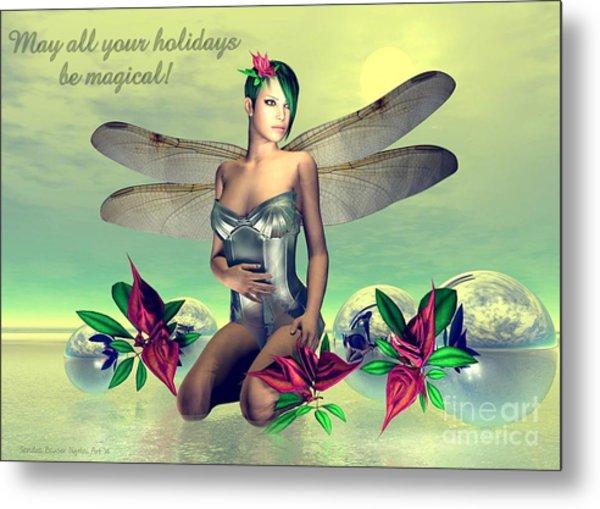 Metal Print featuring the digital art Orchid Faerie Holiday Card by Sandra Bauser Digital Art