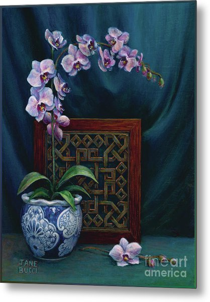 Orchids In A Chinese Pot Metal Print