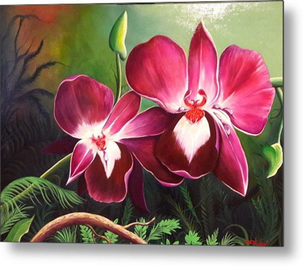 Orchids In The Night Metal Print