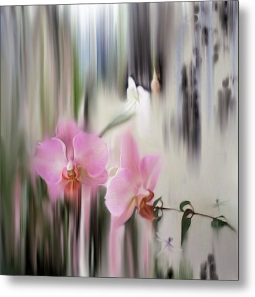 Orchids With Dragonflies Metal Print