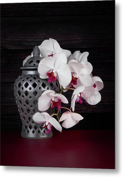 Orchids With Gray Ginger Jar Metal Print