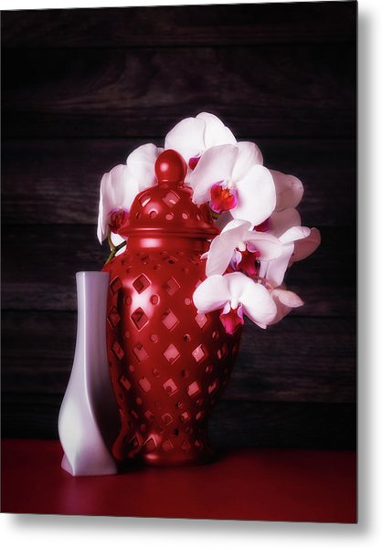 Orchids With Red And Gray Metal Print